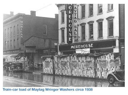 HD Morehouse Train-Car Load of Maytag Wringer Washers-circa 1934