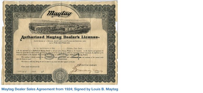 Maytag Dealer Sales Agreement from 1924